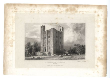1834 HEDINGHAM CASTLE Essex ANTIQUE PRINT Norman Motte-and-bailey ENGRAVING SOLD